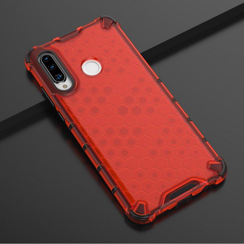 Honeycomb kryt na Huawei P30 Lite Červený