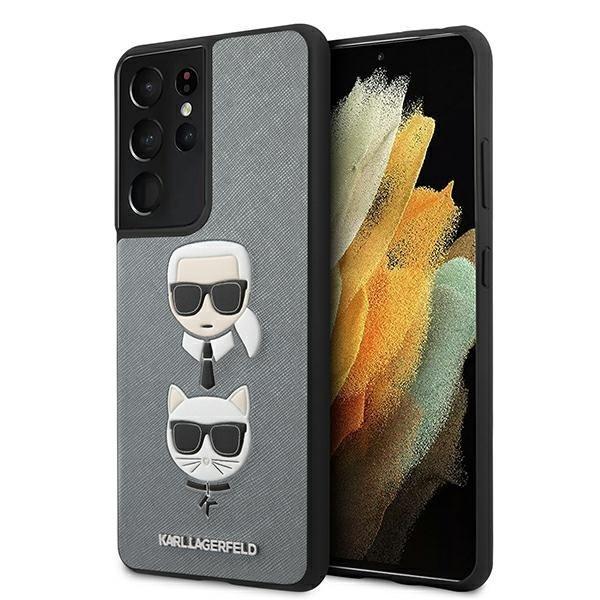 Karl Lagerfed kryt na Samsung Galaxy S21 Ultra Silver Saffiano Ikonik