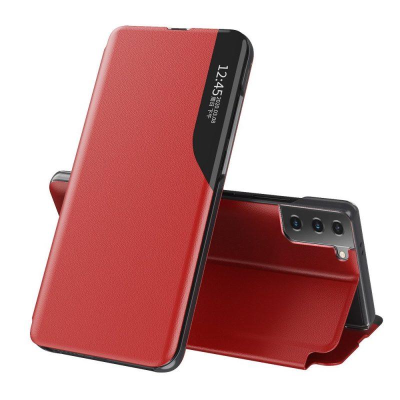 Kožené ECO Flip puzdro na Samsung Galaxy S21 Plus Červené