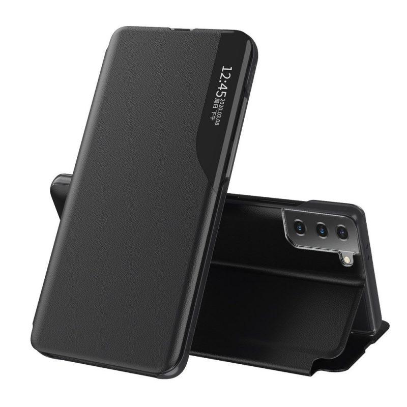 Kožené ECO Flip puzdro na Samsung Galaxy S21 Plus Čierne