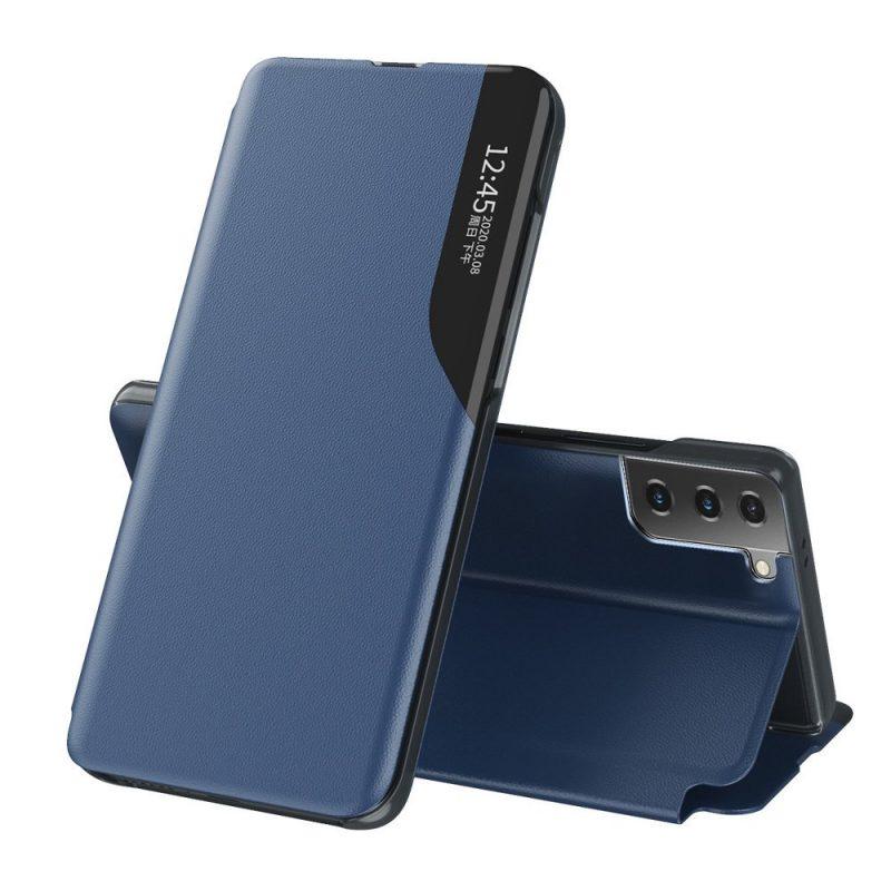 Kožené ECO Flip puzdro na Samsung Galaxy S21 Plus Modré