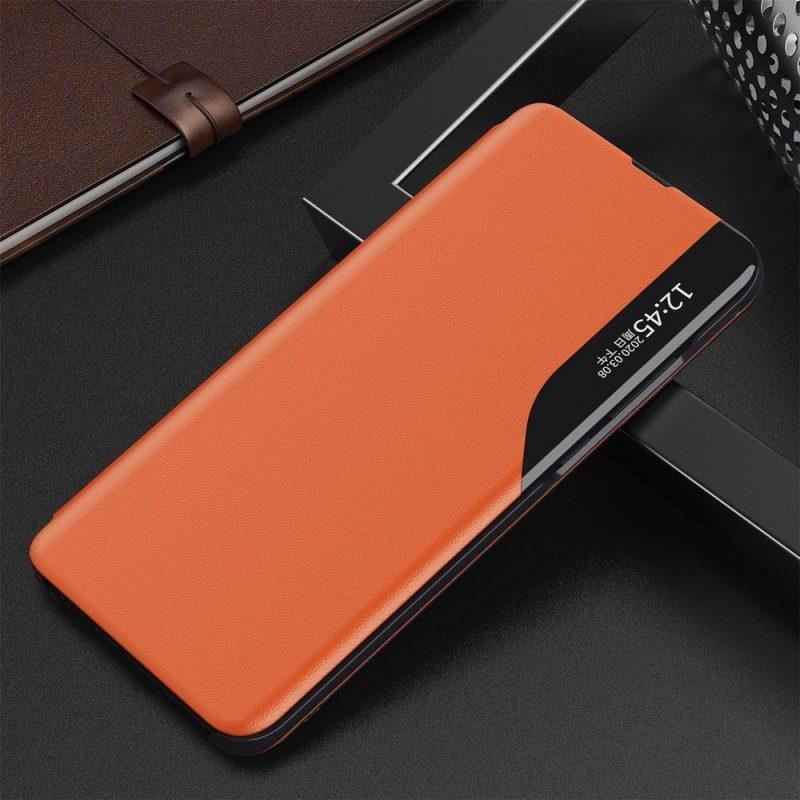 Kožené ECO Flip puzdro na Samsung Galaxy S21 Plus Oranžové