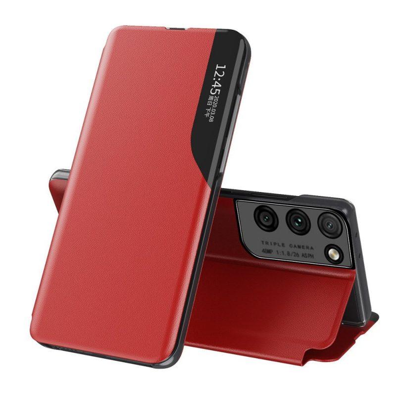 Kožené ECO Flip puzdro na Samsung Galaxy S21 Ultra Červené