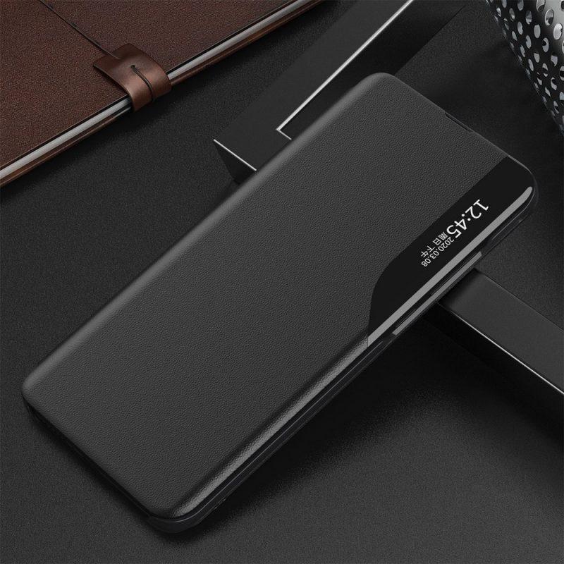Kožené ECO Flip puzdro na Samsung Galaxy S21 Ultra Čierne