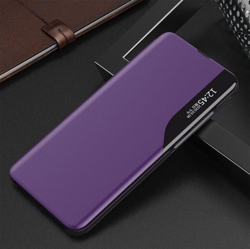 Kožené ECO Flip puzdro na Samsung Galaxy S21 Ultra Fialové