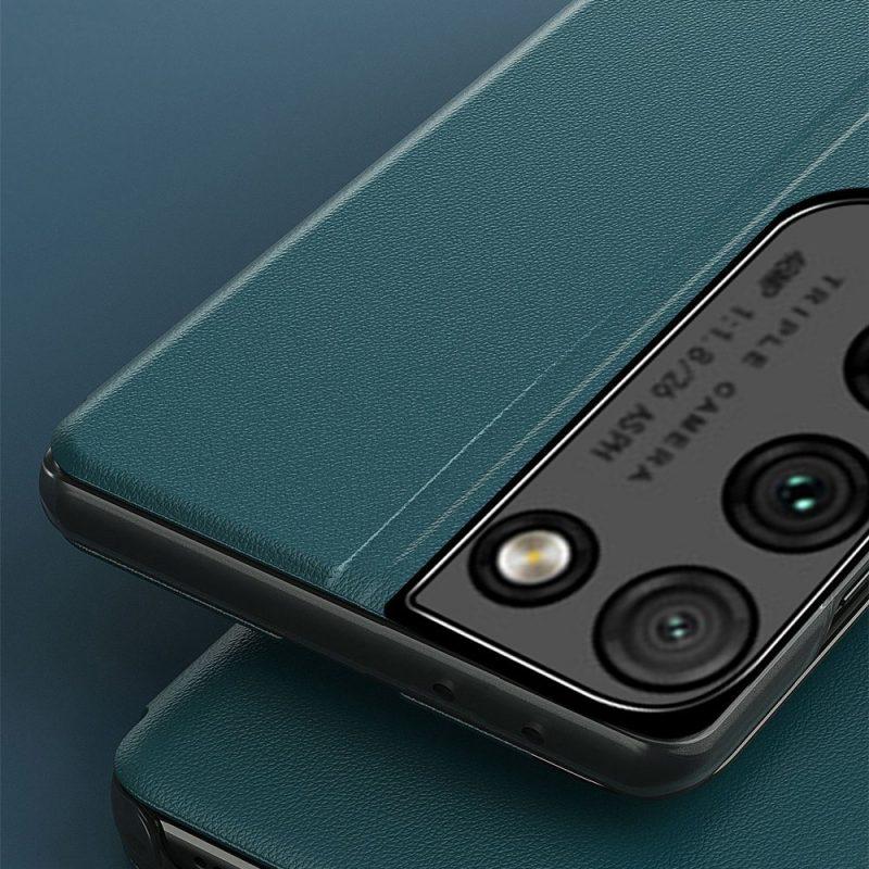 Kožené ECO Flip puzdro na Samsung Galaxy S21 Ultra Zelené