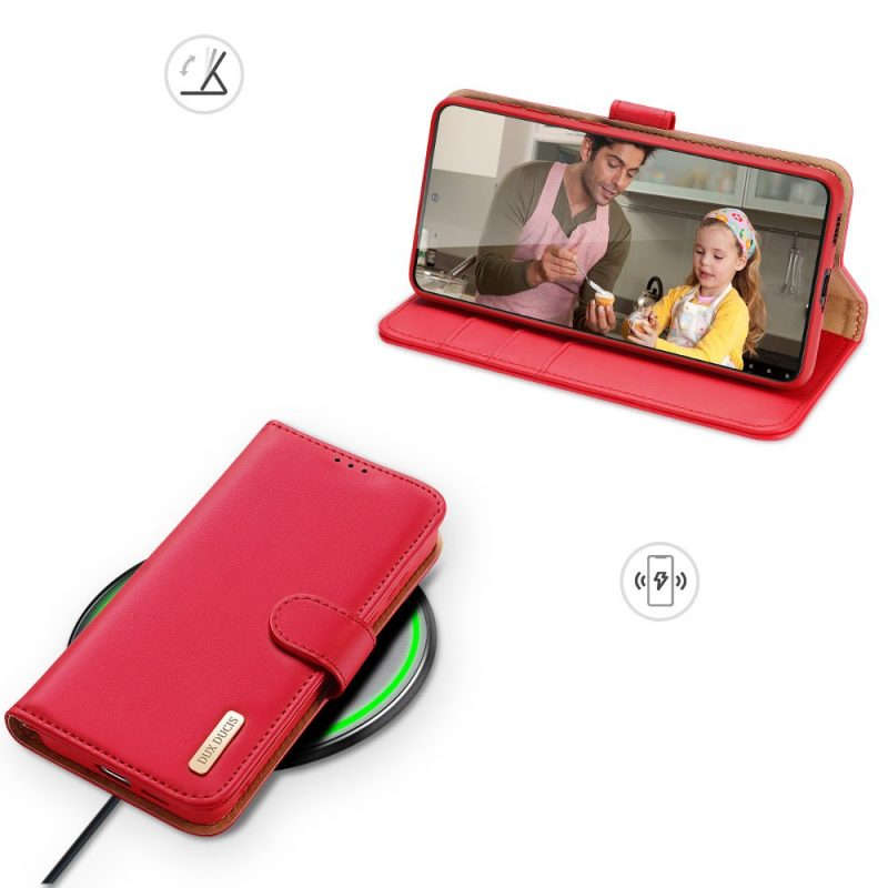 Kožené Flip puzdro na Samsung Galaxy S21 Plus Červené