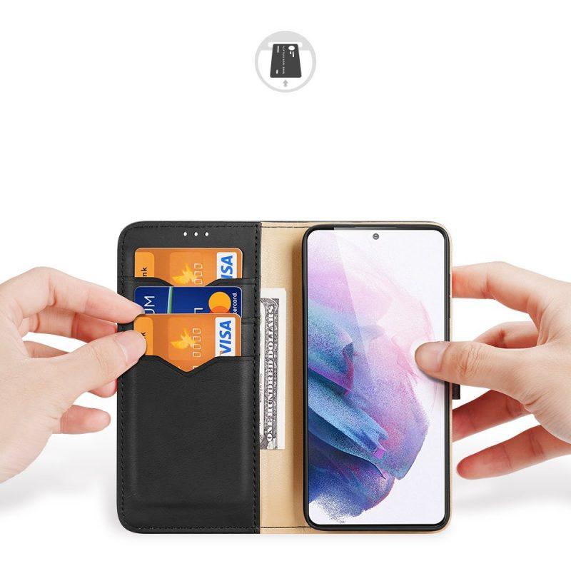 Kožené Flip puzdro na Samsung Galaxy S21 Plus Čierne