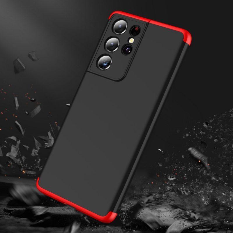 Odolný Full Body kryt na Samsung Galaxy S21 Ultra Black-Red