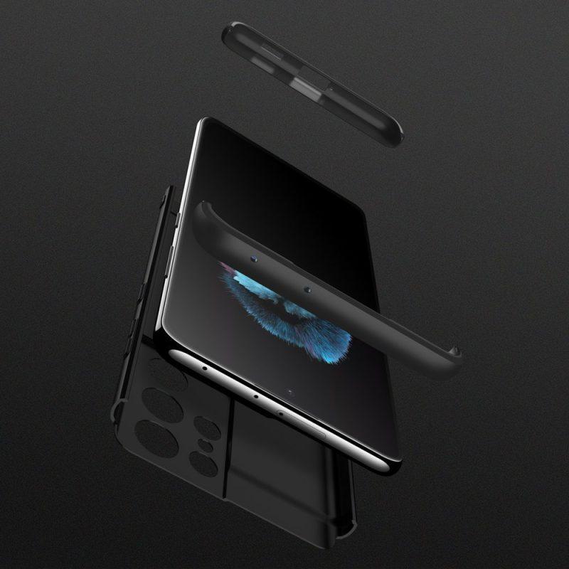 Odolný Full Body kryt na Samsung Galaxy S21 Ultra Čierny