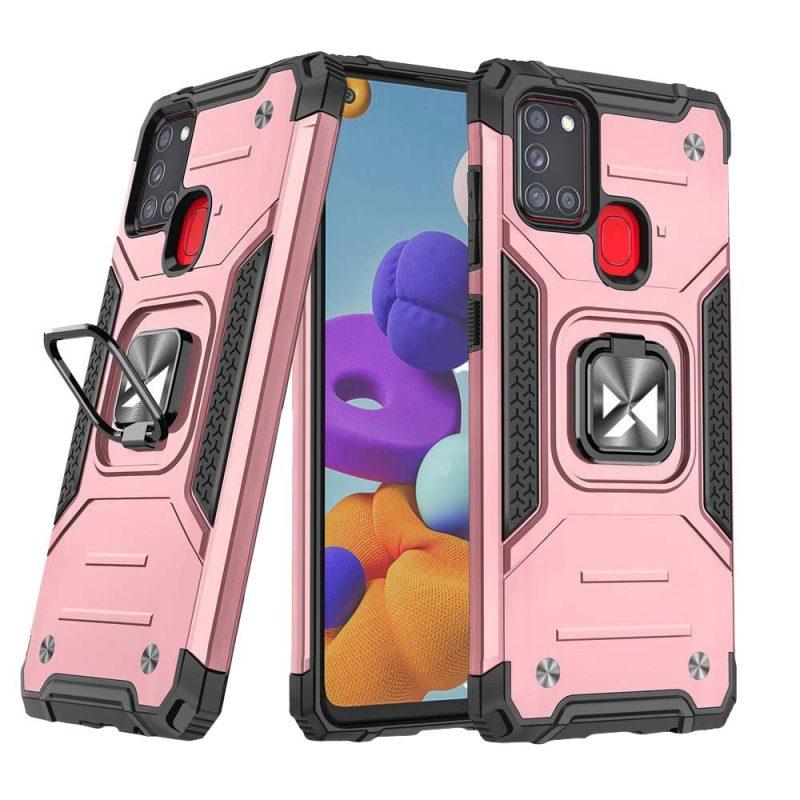 Ring Armor kryt na Samsung Galaxy A21S Ružový