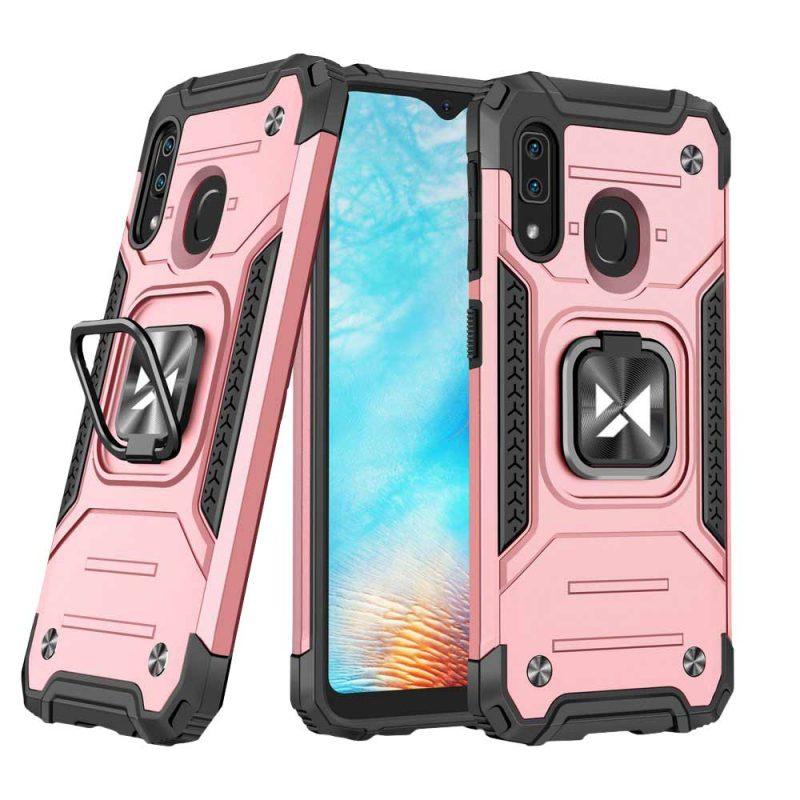Ring Armor kryt na Samsung Galaxy A20e Ružový