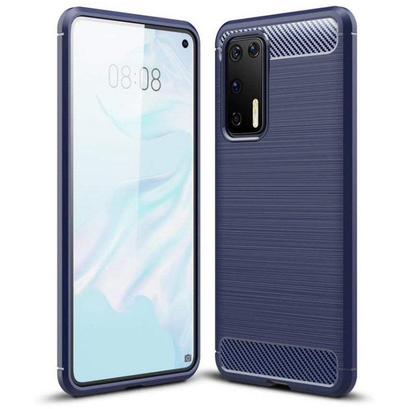 Silikónový Carbon kryt na Huawei P40 modrý