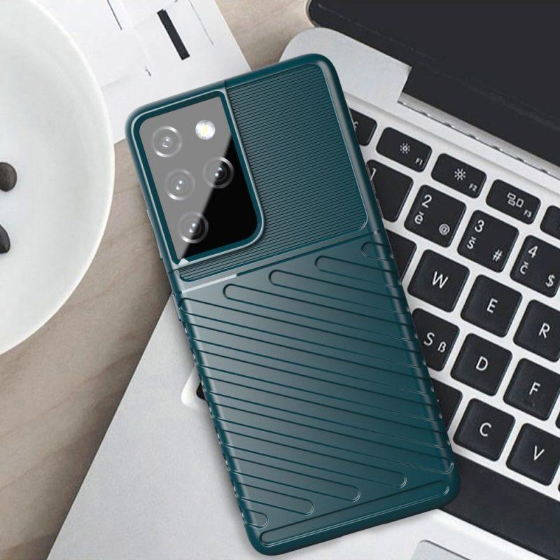 Thunder ochranný Kryt na Samsung Galaxy S21 Ultra Zelený