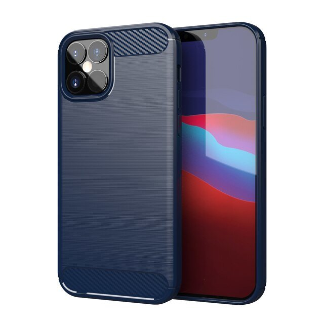 Carbon kryt na iPhone 12 Pro Modrý